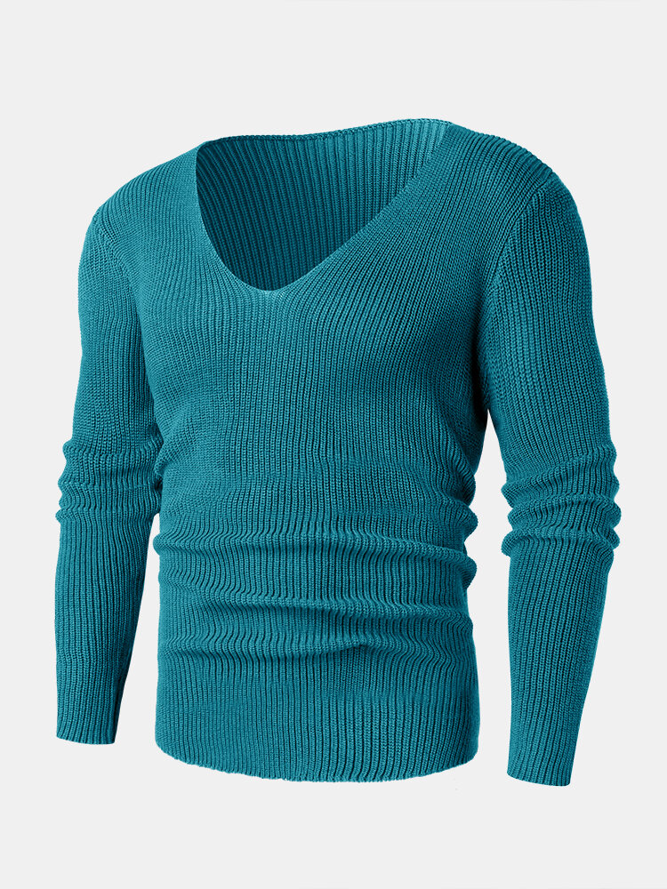 Mens Solid Rib-Knit V-Neck Basic Long Sleeve Pullover Sweaters