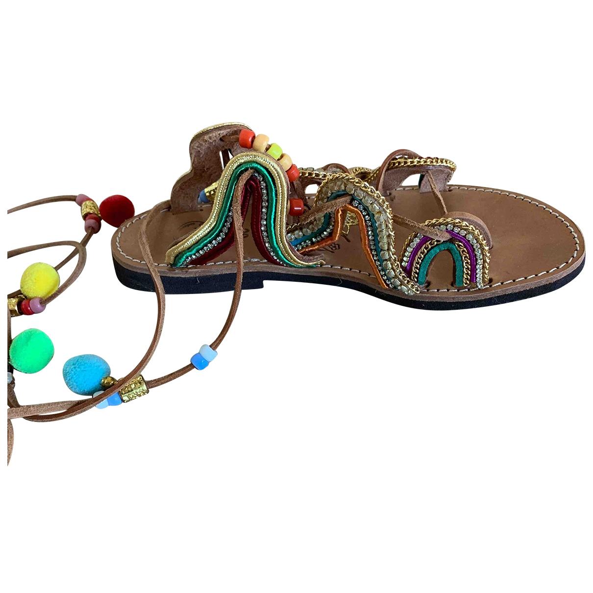 - Sandales Hippie Chic pour femme en cuir - camel