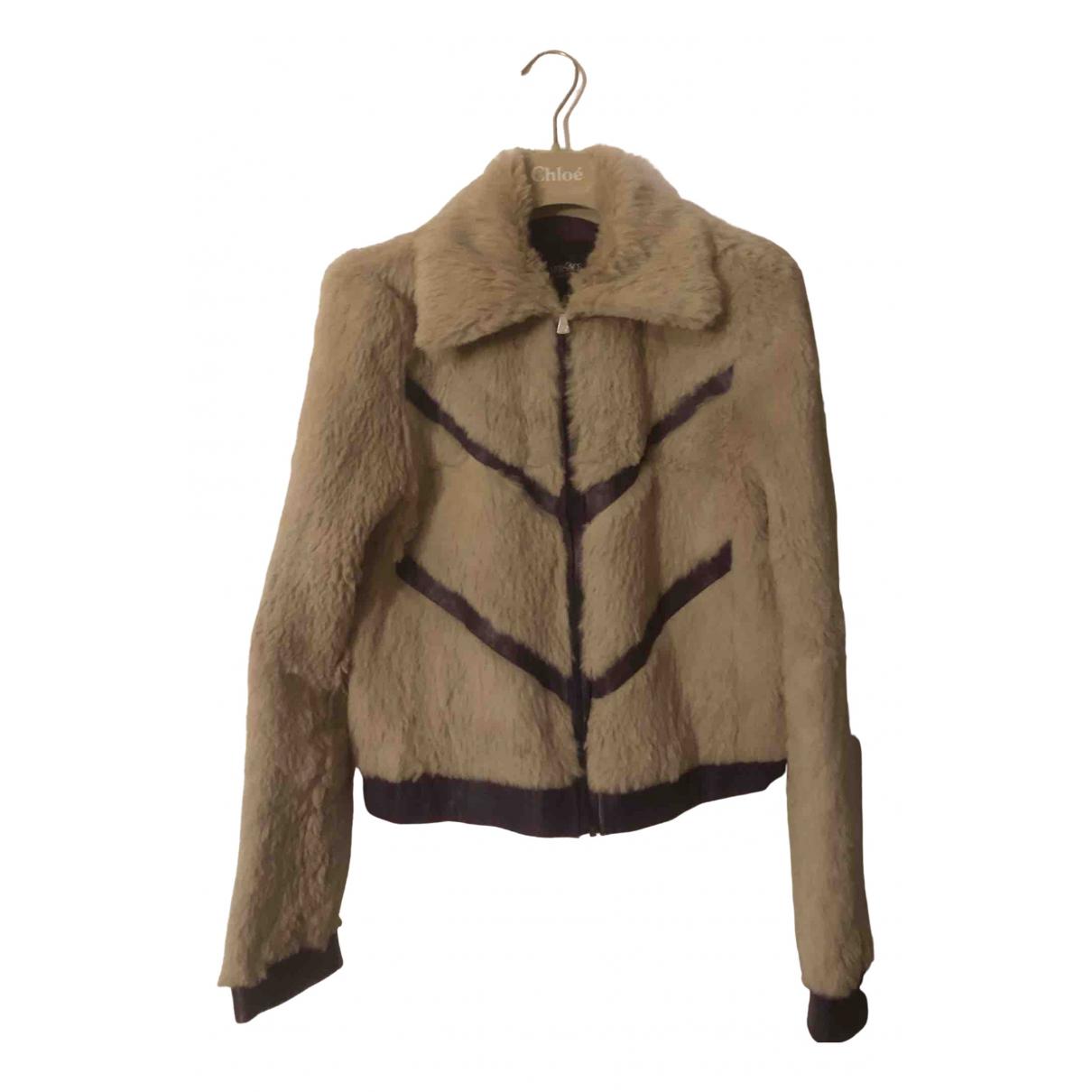 Versace Jeans N Beige Rabbit Leather jacket for Women 36 FR