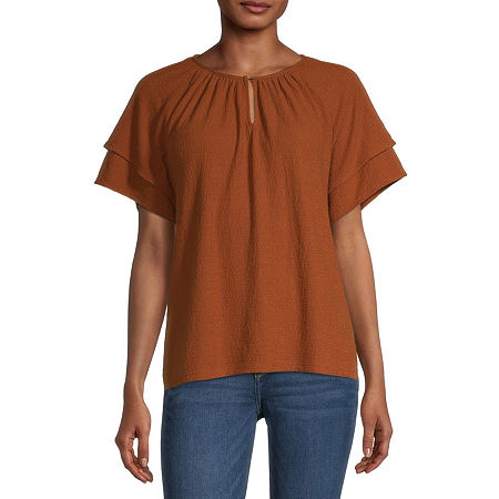 a.n.a-Tall Womens Keyhole Neck Short Sleeve Peasant Top, Medium Tall , Red