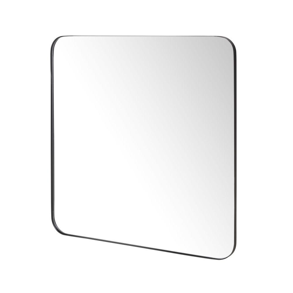 Spiegel mit abgerundeten Kanten und schwarzem Metallrahmen 111x111