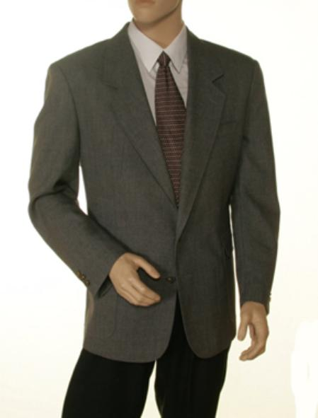 Single Breasted 2 Button Solid Gray Blazer