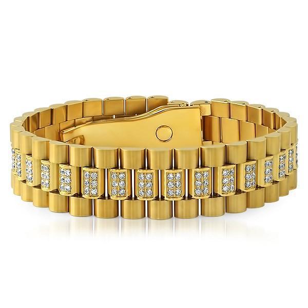 Gold President Bracelet CZ Set Center Links