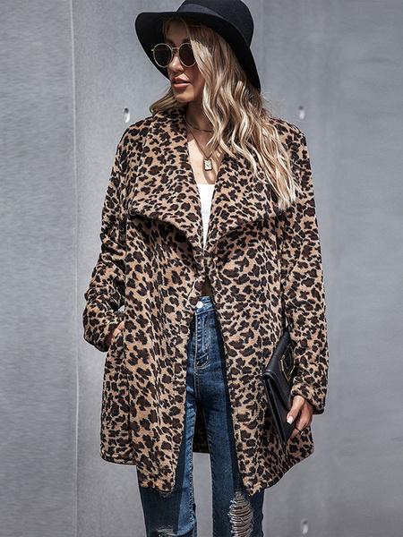 Milanoo Woman Coats Leopard Print Turndown Collar Buttons Casual Asymmetrical Camel Wrap Coat