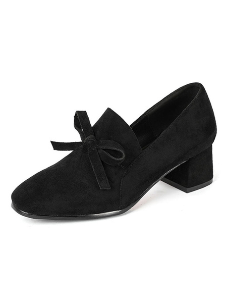 Milanoo Block Heel Pumps Retro Square Toe Low Heels Woman Shoes