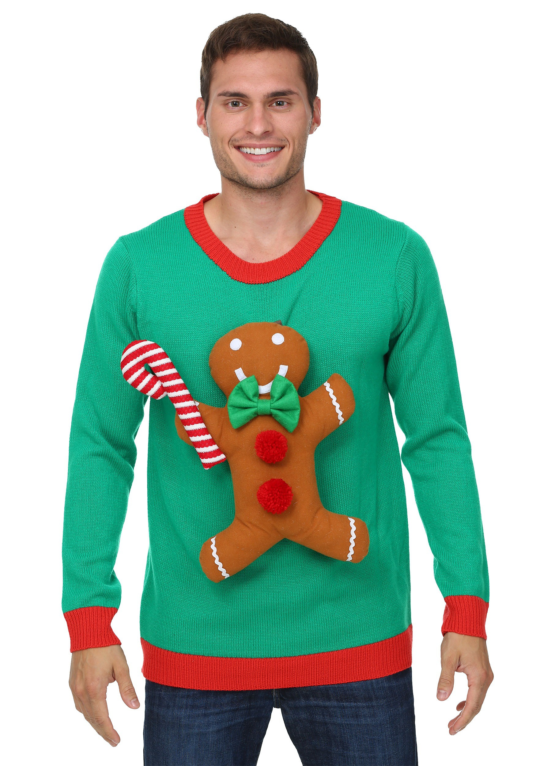 3D Gingerbread Man Ugly Christmas Sweater