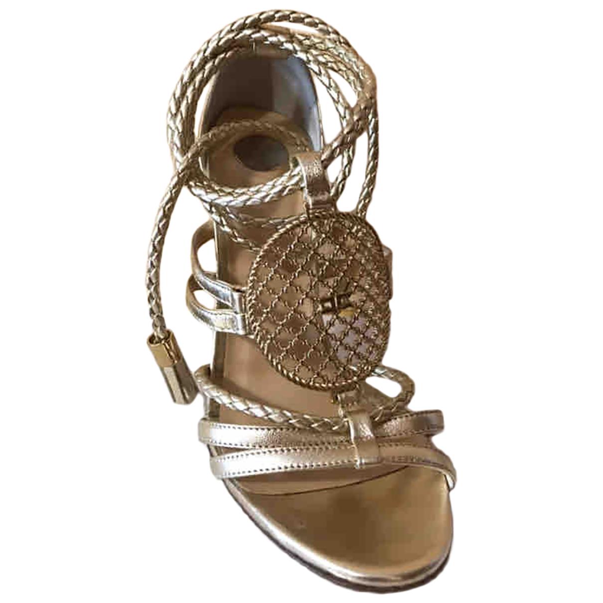 Elisabetta Franchi N Gold Leather Sandals for Women 37 EU