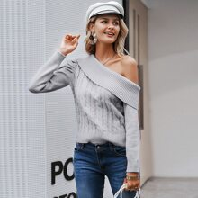 Solid Cable Knit Asymmetrical Neck Sweater