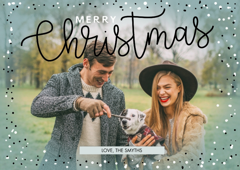Christmas Photo Cards Set of 20, Premium 5x7 Foil Card, Card & Stationery -Merry Christmas Vignette