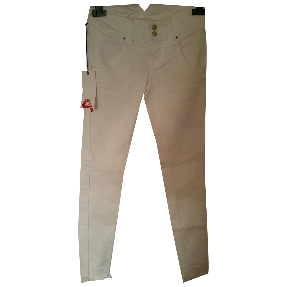 Cycle \N White Cotton - elasthane Jeans for Women 35 FR