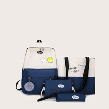 4pcs Letter Graphic Backpack With Pencil Case