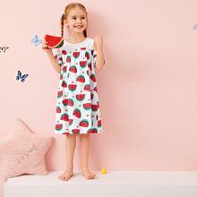 Schulterfreies Nachtkleid mit Wassermelone Muster