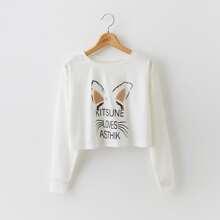 Crop Sweatshirt mit Buchstaben Grafik und Kontrast Lammfell