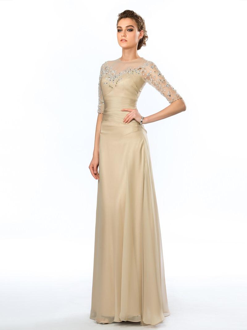 Ericdress Half Sleeves Beading Sheath Evening Dress