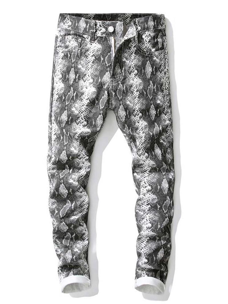 Ericdress Straight Print Mid Waist European Jeans