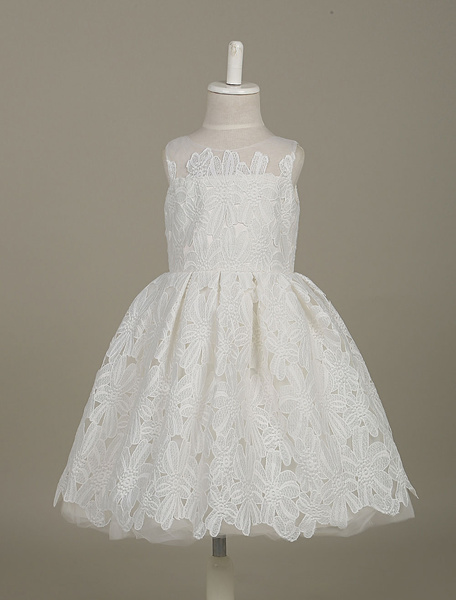 Milanoo Flower Girl Dresses White Lace Tutu Dress Sleeveless Pleated Tulle Toddler's Dinner Dress