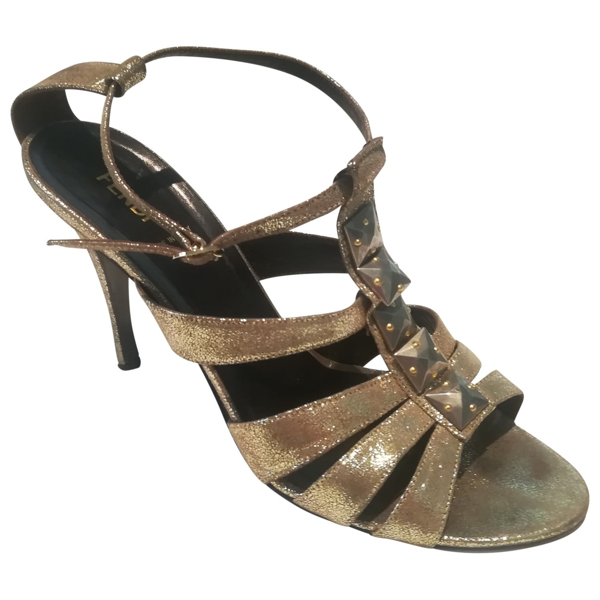 Fendi \N Gold Leather Sandals for Women 40 EU