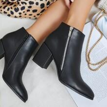 Faux Leather Zip-Up Block Heel Booties