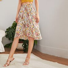 Elastic Waist Asymmetrical Ruffle Hem Floral Skirt