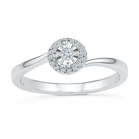 Promise My Love Womens 1/10 CT. T.W. Genuine White Diamond Sterling Silver Promise Ring, 5 , No Color Family