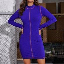 Mock Neck Stitch Trim Bodycon Dress