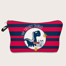 Striped Dinosaur Makeup Bag