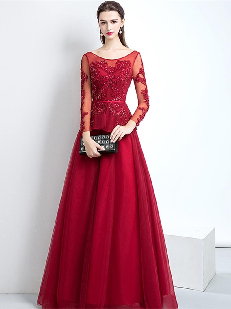 Ericdress A Line Applique Long Sleeve Prom Dress