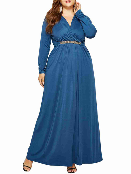 Milanoo Plus Size Maxi Dress For Women Teal Long Sleeve Dress