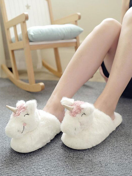Milanoo Boa Slippers White Knitting Wool Upper Closed Toe Intdoor Door Home Slippers Shoes