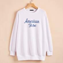 Drop Shoulder Letter Graphic Sweatshirt