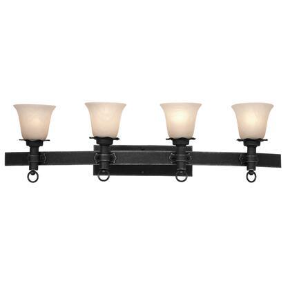 Americana 4204B/1356 4-Light Bath in Black with Travertine Standard Glass