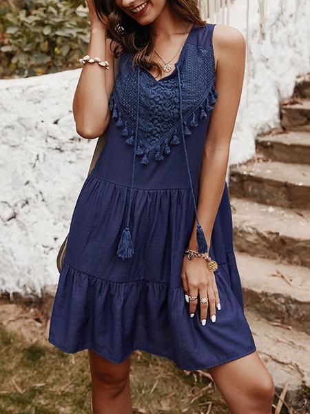 Milanoo Shift Dresses Tassel Sleeveless Women Summer Dress