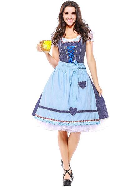 Milanoo Disfraz Halloween Disfraz de chica de cerveza Vestido de lazo de cinta azul Disfraz de fiesta de niña de cerveza de algodon Disfraces de Oktob