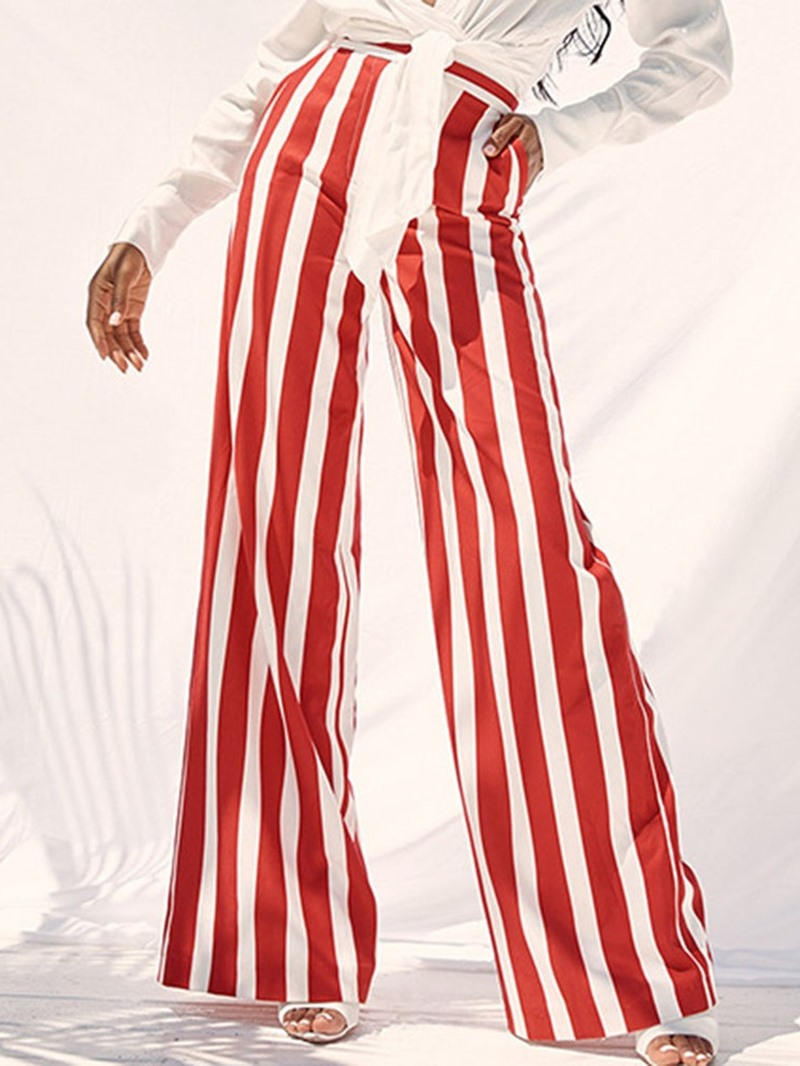 Ericdress Loose Stripe Wide Legs Full Length Casual Pants