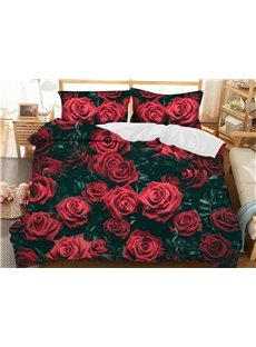 Romantic Red Roses Soft 3D Printed Polyester 3-Piece Bedding Sets/Duvet Covers