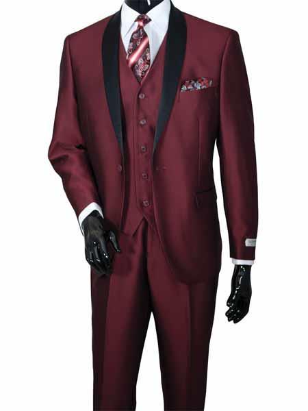 3 Piece 2Toned Shawl Lapel Vested Burgundy Sharkskin Black Lapel Suit