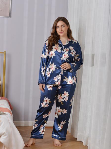 Yoins Plus Size V-neck Floral Print Pocket Design Long Sleeves Sleepwear