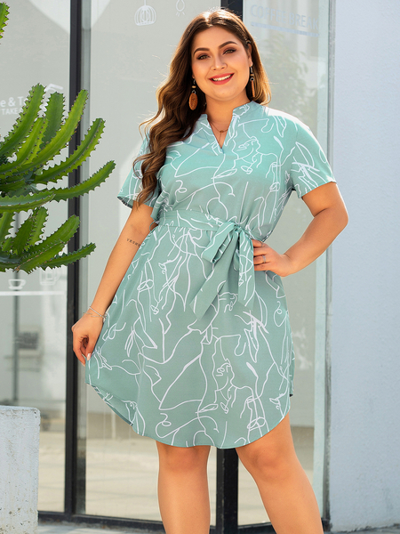 Yoins Plus Size Green Belt Design Print V-neck Short Sleeves Dress