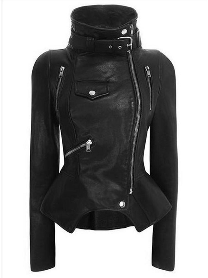 Ericdress Slim Stand Collar Asymmetric PU Jacket