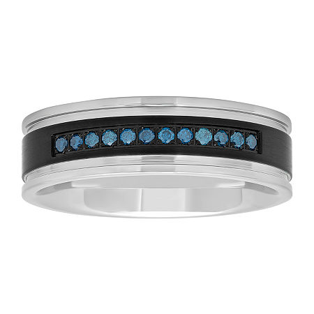 7mm 1/6 CT. T.W. Genuine Blue Diamond Stainless Steel Band, 9 , No Color Family