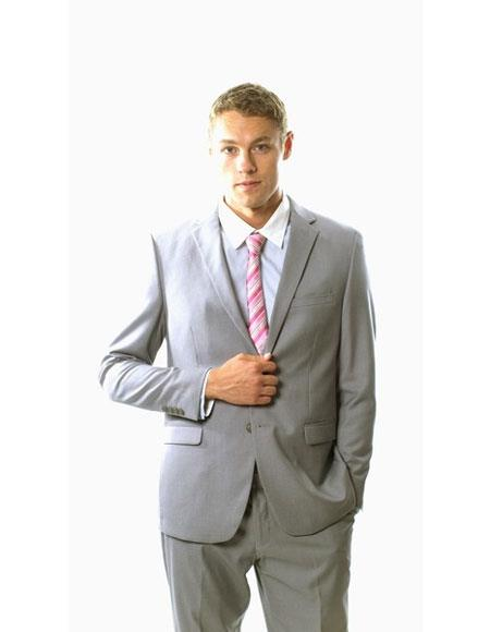 Men's Two Buttons Single Breasted Young Look Light grey Slim Fit Suit