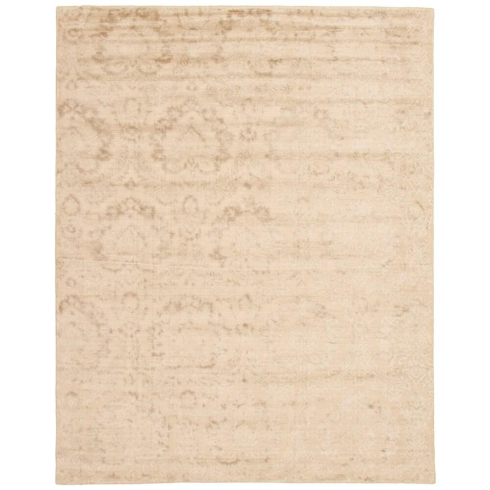 ECARPETGALLERY  Hand Loomed Galleria Beige Viscose Rug - 8'7 x 11'11 (Beige - 8'7 x 11'11)