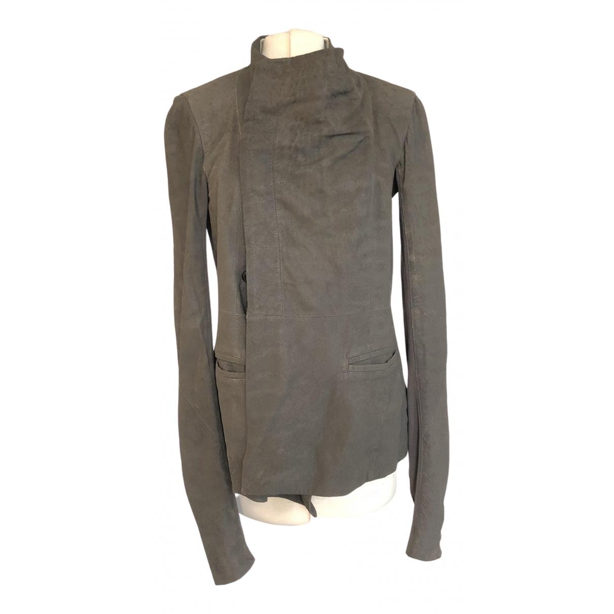 Rick Owens - Veste   pour femme en cuir - gris