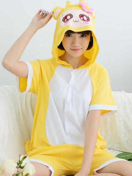 Milanoo Kigurumi Pajamas Onesie Monkey Kids Yellow Cotton Short Sleeves Easy Toilet Summer Sleepwear Mascot Animal Halloween Costume