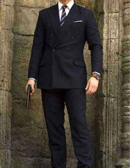 kingsman Double Breasted Wool Blue suit
