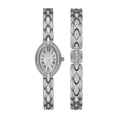 Geneva Womens Crystal Accent Silver Tone 2-pc. Watch Boxed Set-Fmdjset054, One Size , No Color Family