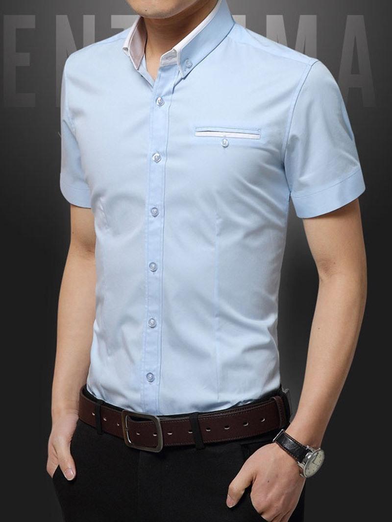 Ericdress Casual Lapel Single-Breasted Mens Shirt