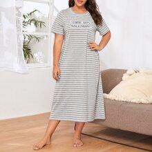 Plus Slogan Print Striped Nightdress