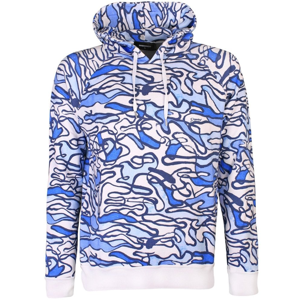 Dsquared2 Swirl Pattern Hoodie Colour: BLUE, Size: EXTRA LARGE