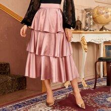 High Waist Layered Satin Skirt